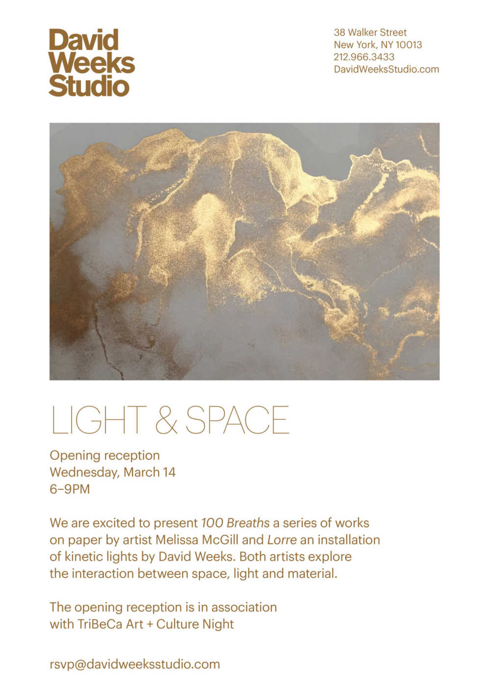 LIGHT & SPACE opens at David Weeks Studio, on view through May 2