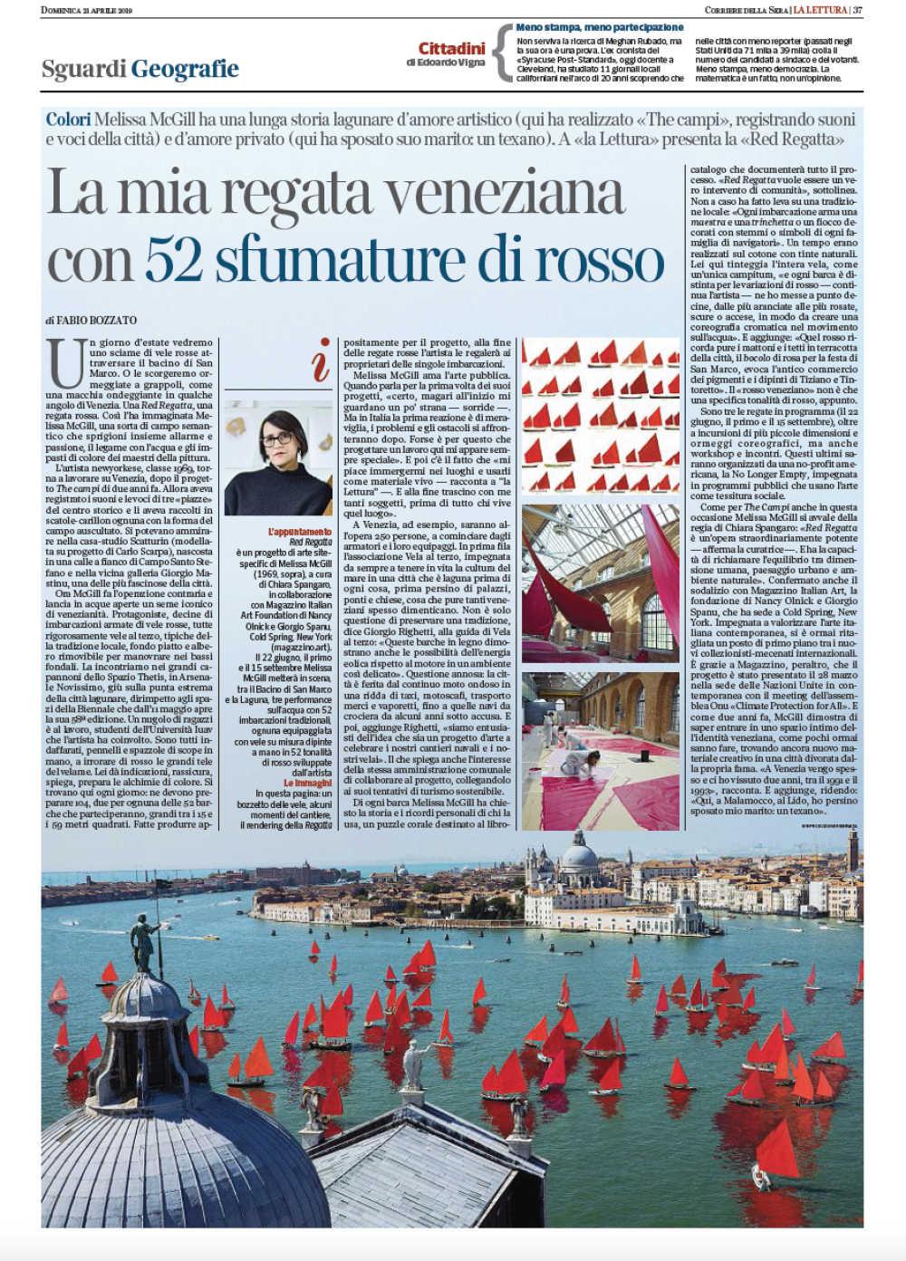 Red Regatta in La Lettura of Corriere della Sera!
